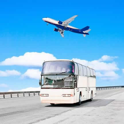 viajar en bus vs viajar en avion